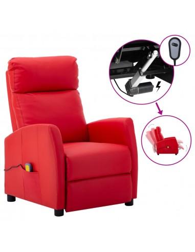 Elektrinis atlošiamas masažinis krėslas, raudona, dirbtinė oda    Elektrinės Masažo Kėdės   duodu.lt