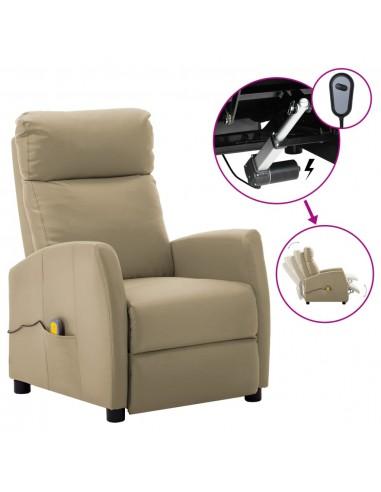 Elektrinis atlošiamas masažinis krėslas, kapučino, dirbtinė oda    Elektrinės Masažo Kėdės   duodu.lt