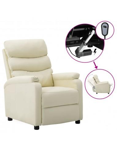 Elektrinė atlošiama kėdė, kreminė, dirbtinė oda  | Foteliai, reglaineriai ir išlankstomi krėslai | duodu.lt