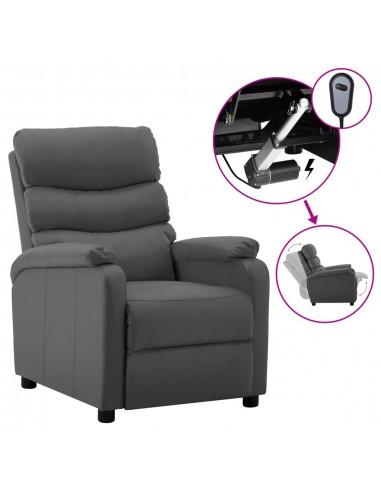 Elektrinė atlošiama kėdė, pilka, dirbtinė oda  | Foteliai, reglaineriai ir išlankstomi krėslai | duodu.lt