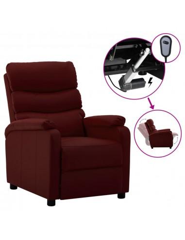 Elektrinis atlošiamas krėslas, vyno raudona, dirbtinė oda  | Foteliai, reglaineriai ir išlankstomi krėslai | duodu.lt