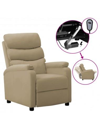 Elektrinis atlošiamas krėslas, kapučino spalvos, dirbtinė oda  | Foteliai, reglaineriai ir išlankstomi krėslai | duodu.lt