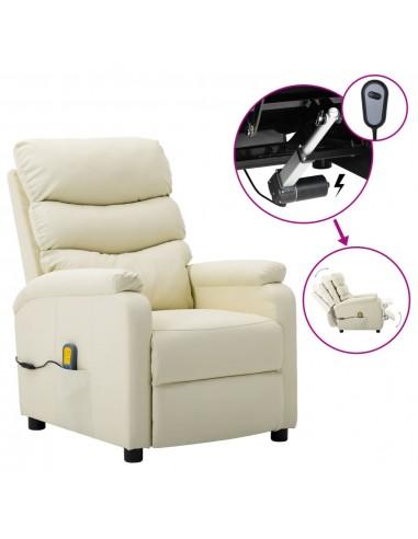Elektrinis atlošiamas masažinis krėslas, kreminė, dirbtinė oda  | Elektrinės Masažo Kėdės | duodu.lt