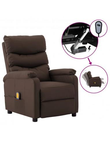 Elektrinis atlošiamas masažinis krėslas, rudas, dirbtinė oda  | Elektrinės Masažo Kėdės | duodu.lt