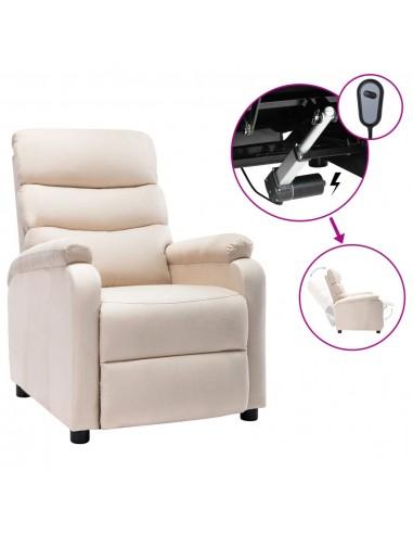 Elektrinis atlošiamas krėslas, kreminės spalvos, audinys | Foteliai, reglaineriai ir išlankstomi krėslai | duodu.lt