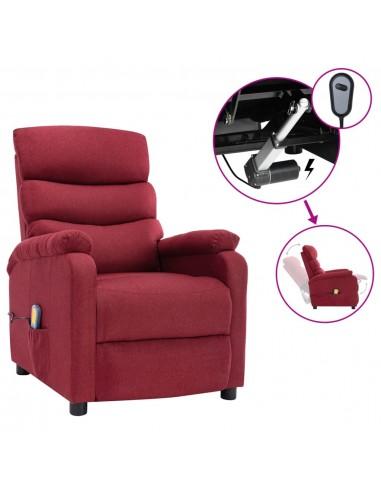 Elektrinis atlošiamas masažinis krėslas, vyno raudonas, audinys   Elektrinės Masažo Kėdės   duodu.lt