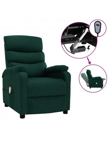 Elektrinis atlošiamas masažinis krėslas, žalias, audinys | Elektrinės Masažo Kėdės | duodu.lt