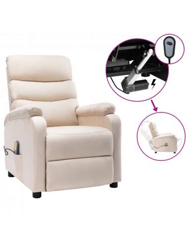 Elektrinis atlošiamas masažinis krėslas, kreminis, audinys   Elektrinės Masažo Kėdės   duodu.lt