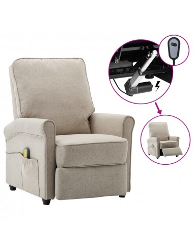 Elektrinis atlošiamas masažinis krėslas, kreminis, audinys | Elektrinės Masažo Kėdės | duodu.lt