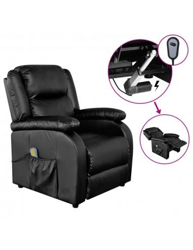 Elektrinis masažinis krėslas, juodos spalvos, dirbtinė oda | Elektrinės Masažo Kėdės | duodu.lt