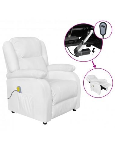 Elektrinis masažinis krėslas, baltos spalvos, dirbtinė oda | Elektrinės Masažo Kėdės | duodu.lt