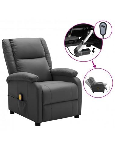 Elektrinis atlošiamas masažinis krėslas, pilkas, dirbtinė oda   Elektrinės Masažo Kėdės   duodu.lt