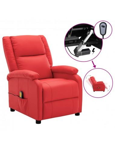 Elektrinis atlošiamas masažinis krėslas, raudonas, dirbtinė oda | Elektrinės Masažo Kėdės | duodu.lt