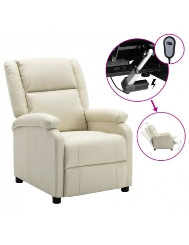 Elektrinis atlošiamas krėslas, baltos spalvos, dirbtinė oda   Foteliai, reglaineriai ir išlankstomi krėslai   duodu.lt