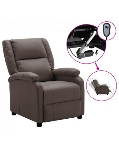 Elektrinis atlošiamas krėslas, rudos spalvos, dirbtinė oda   Foteliai, reglaineriai ir išlankstomi krėslai   duodu.lt