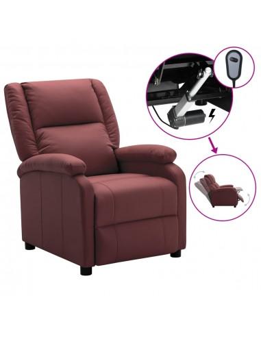 Elektrinis atlošiamas krėslas, vyno raudonas, dirbtinė oda   Foteliai, reglaineriai ir išlankstomi krėslai   duodu.lt