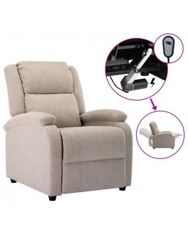 Elektrinis atlošiamas televizoriaus krėslas, kreminis, audinys | Foteliai, reglaineriai ir išlankstomi krėslai | duodu.lt