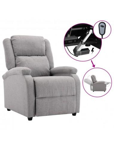 Elektrinis atlošiamas TV krėslas, šviesiai pilkas, audinys   Foteliai, reglaineriai ir išlankstomi krėslai   duodu.lt