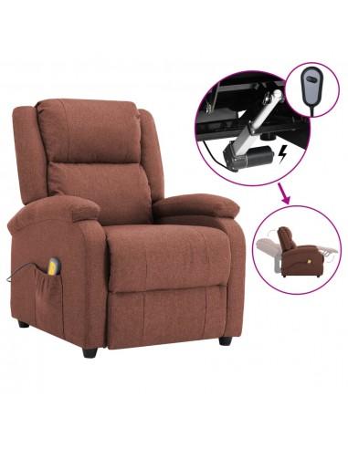 Elektrinis atlošiamas masažinis krėslas, rudas, audinys | Elektrinės Masažo Kėdės | duodu.lt