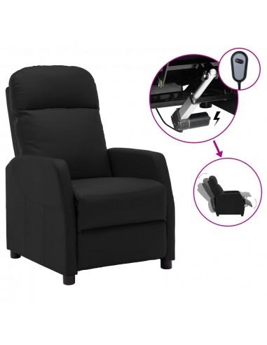 Elektrinis atlošiamas krėslas, juodos spalvos, dirbtinė oda | Foteliai, reglaineriai ir išlankstomi krėslai | duodu.lt