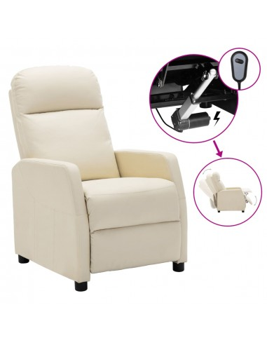 Elektrinis atlošiamas krėslas, kreminės spalvos, dirbtinė oda | Foteliai, reglaineriai ir išlankstomi krėslai | duodu.lt