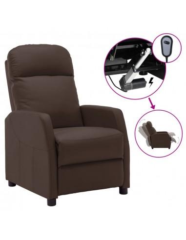 Elektrinis atlošiamas krėslas, rudos spalvos, dirbtinė oda | Foteliai, reglaineriai ir išlankstomi krėslai | duodu.lt