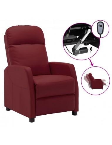 Elektrinis atlošiamas krėslas, vyno raudonas, dirbtinė oda | Foteliai, reglaineriai ir išlankstomi krėslai | duodu.lt