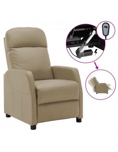 Elektrinis atlošiamas krėslas, kapučino spalvos, dirbtinė oda   Foteliai, reglaineriai ir išlankstomi krėslai   duodu.lt
