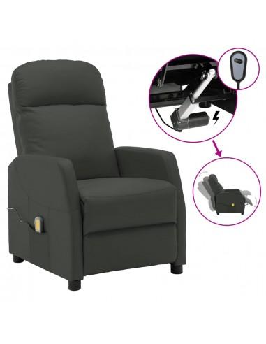 Elektrinis atlošiamas masažinis krėslas, pilkas, dirbtinė oda | Elektrinės Masažo Kėdės | duodu.lt