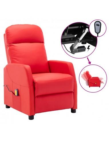 Elektrinis atlošiamas masažinis krėslas, raudonas, dirbtinė oda   Elektrinės Masažo Kėdės   duodu.lt