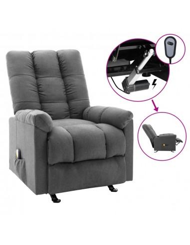 Elektrinis masažinis krėslas, šviesiai pilkas, audinys    Elektrinės Masažo Kėdės   duodu.lt