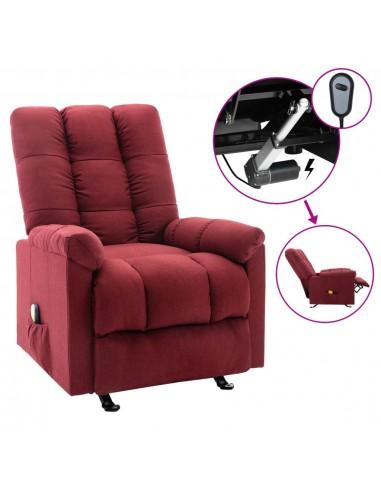 Elektrinis masažinis krėslas, raudonojo vyno spalvos, audinys    Elektrinės Masažo Kėdės   duodu.lt