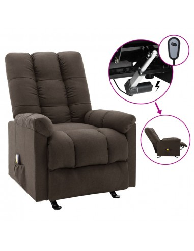 Elektrinis masažinis krėslas, tamsiai rudos spalvos, audinys  | Elektrinės Masažo Kėdės | duodu.lt