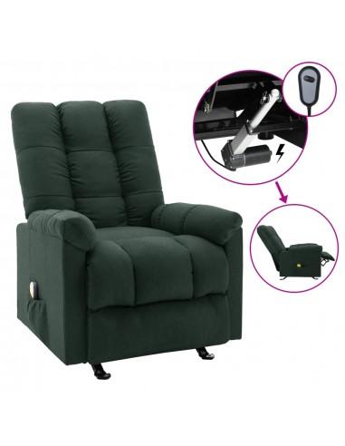 Elektrinis masažinis krėslas, tamsiai žalios spalvos, audinys    Elektrinės Masažo Kėdės   duodu.lt