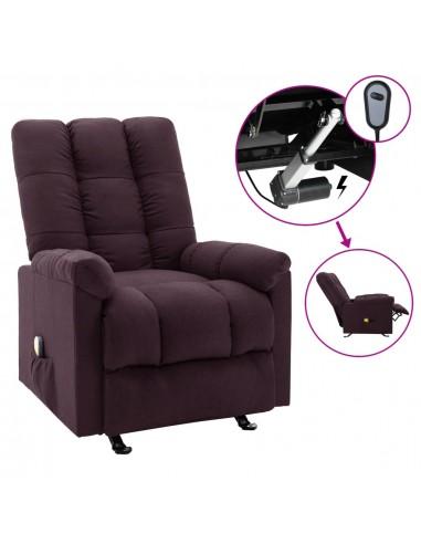 Elektrinis masažinis atlošiamas krėslas, violetinės spalvos, audinys    Elektrinės Masažo Kėdės   duodu.lt