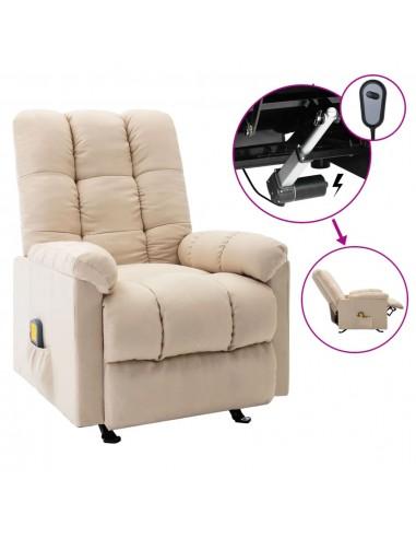 Elektrinis masažinis atlošiamas krėslas, kreminis, audinys    Elektrinės Masažo Kėdės   duodu.lt