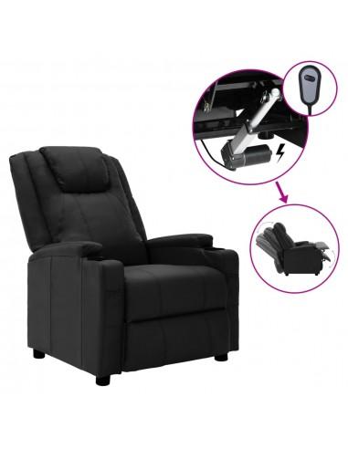 Elektrinis atlošiamas krėslas, juodos spalvos, dirbtinė oda    Foteliai, reglaineriai ir išlankstomi krėslai   duodu.lt