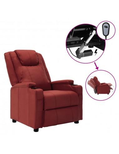 Elektrinis atlošiamas krėslas, raudonos spalvos, dirbtinė oda    Foteliai, reglaineriai ir išlankstomi krėslai   duodu.lt