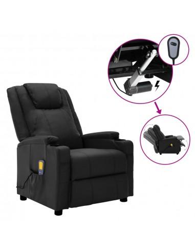 Elektrinis atlošiamas masažinis krėslas, juodas, dirbtinė oda  | Elektrinės Masažo Kėdės | duodu.lt