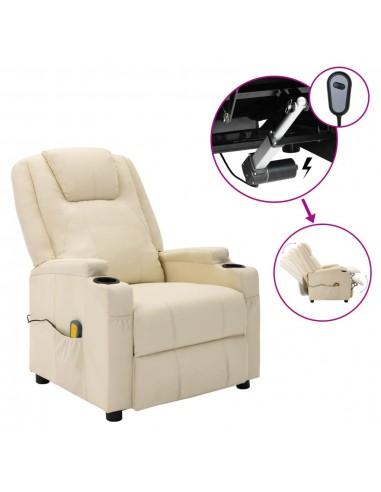 Elektrinis atlošiamas masažo krėslas, kreminis, dirbtinė oda  | Elektrinės Masažo Kėdės | duodu.lt
