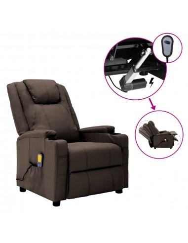 Elektrinis atlošiamas masažo krėslas, rudas, dirbtinė oda    Elektrinės Masažo Kėdės   duodu.lt