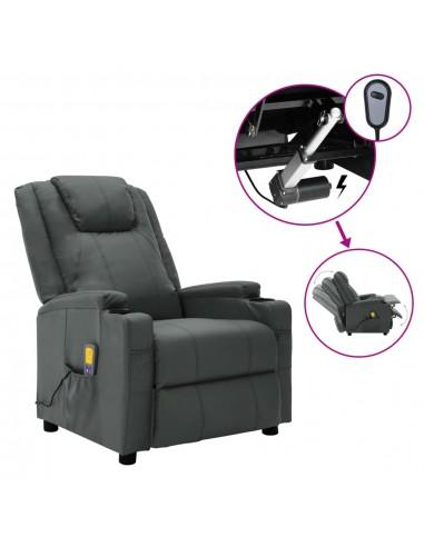 Elektrinis atlošiamas masažo krėslas, antracito, dirbtinė oda    Elektrinės Masažo Kėdės   duodu.lt