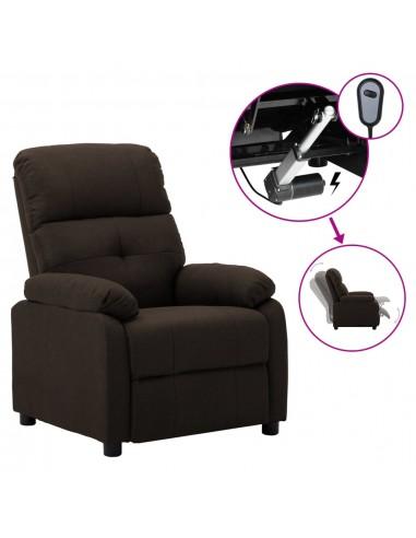 Elektrinė atlošiama kėdė, tamsiai rudos spalvos, audinys    Foteliai, reglaineriai ir išlankstomi krėslai   duodu.lt