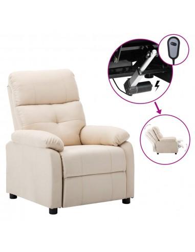 Elektrinė atlošiama kėdė, kreminės spalvos, audinys    Foteliai, reglaineriai ir išlankstomi krėslai   duodu.lt