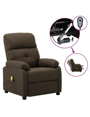 Elektrinė masažinė atlošiama kėdė, rudos spalvos, audinys    Elektrinės Masažo Kėdės   duodu.lt