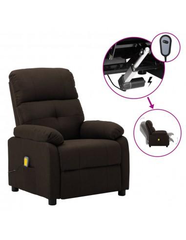 Elektrinė masažinė atlošiama kėdė, tamsiai ruda, audinys    Elektrinės Masažo Kėdės   duodu.lt