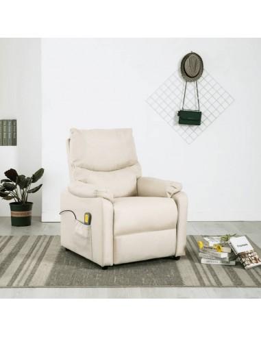 Elektrinis masažinis krėslas, kreminės spalvos, audinys  | Elektrinės Masažo Kėdės | duodu.lt