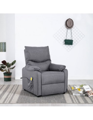 Elektrinis masažinis krėslas, šviesiai pilkos spalvos, audinys  | Elektrinės Masažo Kėdės | duodu.lt