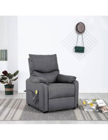 Elektrinis masažinis krėslas, tamsiai pilkos spalvos, audinys  | Elektrinės Masažo Kėdės | duodu.lt