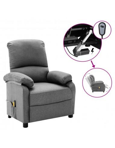 Elektrinis masažinis krėslas, šviesiai pilkas, audinys  | Foteliai, reglaineriai ir išlankstomi krėslai | duodu.lt